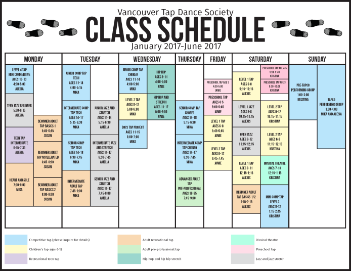 Class Schedule Vancouver Tap Dance Society – Class Schedule